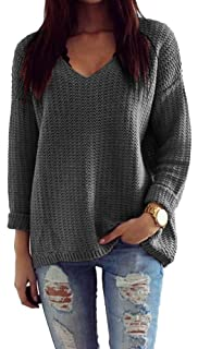 Mikos Damen Pullover Winter Casual Long Sleeve Loose Strick Pullover  Sweater Top Outwear (627 7272f21ebf