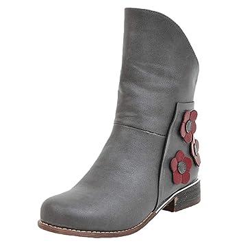LuckyGirls Botas para Mujer Vintage Floral Botines Moda Botas Casual Calzado Zapatillas Zapatos 3cm