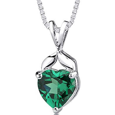 Amazon simulated emerald heart shape pendant sterling silver simulated emerald heart shape pendant sterling silver 300 carats aloadofball Images