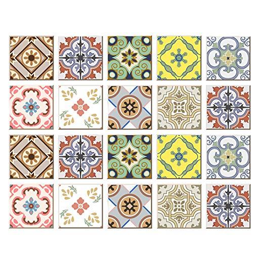 Poromoro Spanish Portuguese Azulejo Style Peel and Stick Tile Stickers Set of 20 pcs (5.9x5.9, A) (Bedroom Spanish Style Sets)