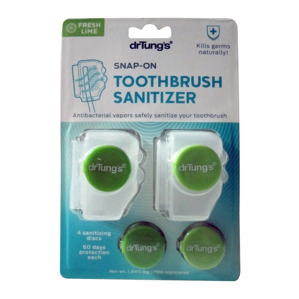 Dr. Tung's Snap-On Toothbrush Sanitizer 2 Count - Assorted colors - Pack of 12 by Dr. Tung's