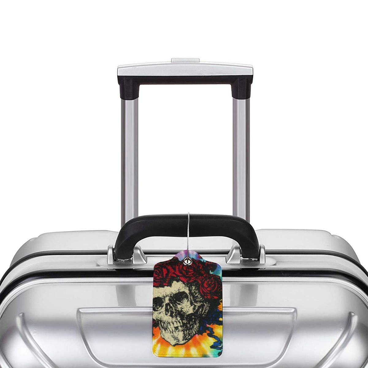 Travel Luggage Tags PU Leather Bag Tags Suitcase Baggage Label Handbag Tag With Full Back Privacy Cover Steel Loops Flower Sugar Skull Rose Tie Dyed set of 4