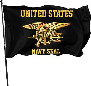 Ldajlkioei US Navy Trident Seal 3x5 Feet Flags Outdoor Banner Garden Flag Veteran Flag - American Military Family Decoration
