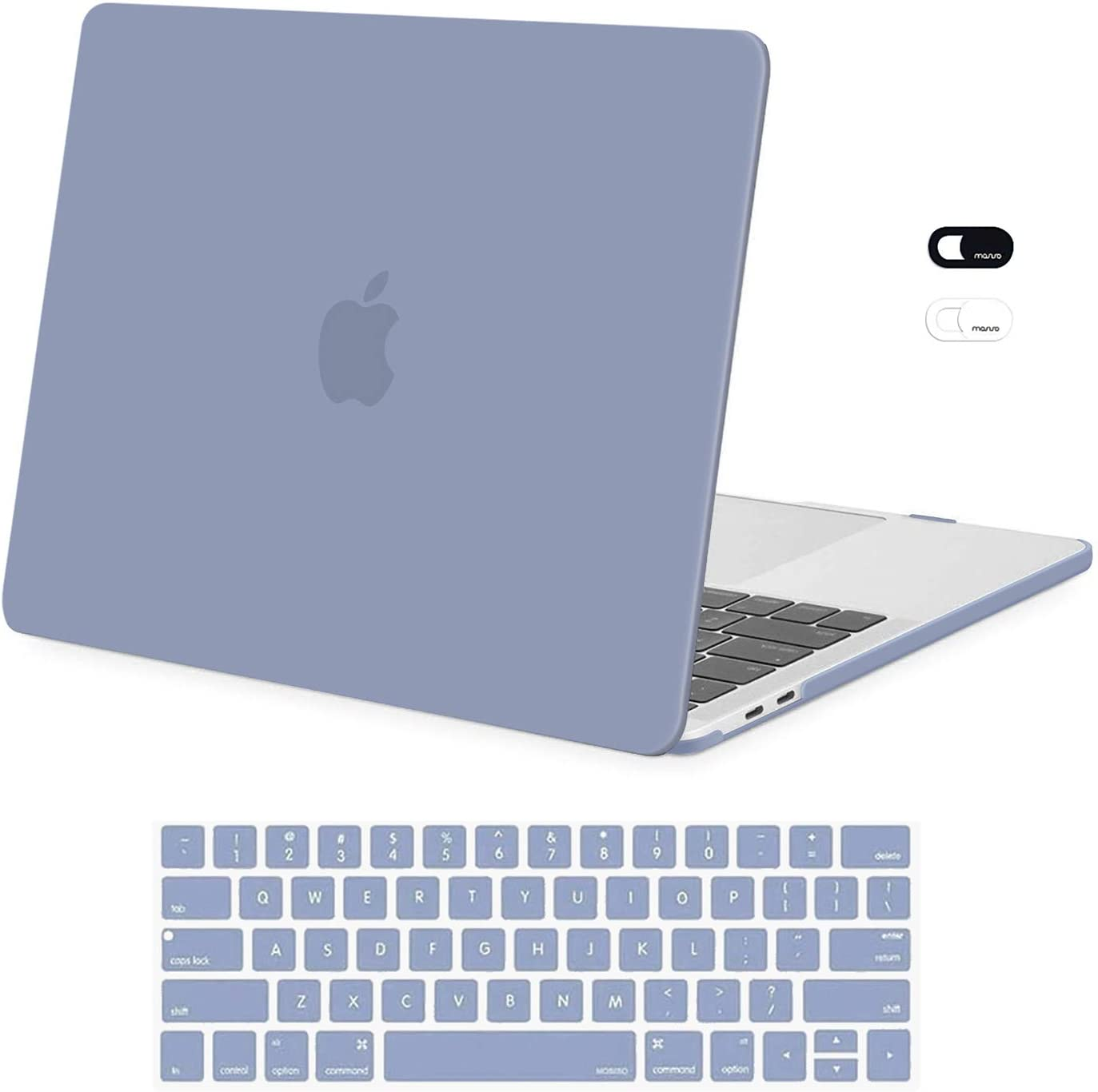 MOSISO Compatible with MacBook Pro 13 inch Case 2016-2020 Release A2338 M1 A2289 A2251 A2159 A1989 A1706 A1708, Plastic Hard Shell Case & Keyboard Cover Skin & Webcam Cover, Lavender Gray