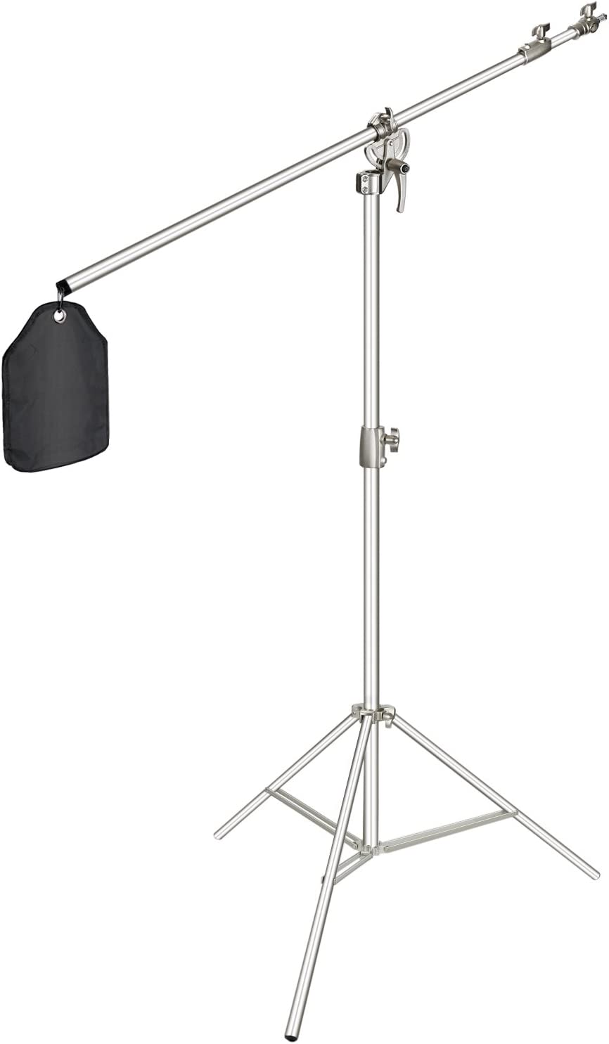 Amazon Com Neewer Photo Studio 2 In 1 Light Stand 48 4 151 5 Inches Adjustable Height With 85 Inch Boom Arm And Sandbag Aluminum Alloy For Supporting Umbrella Softbox Flash For Portrait Video Photography Silver Electronics