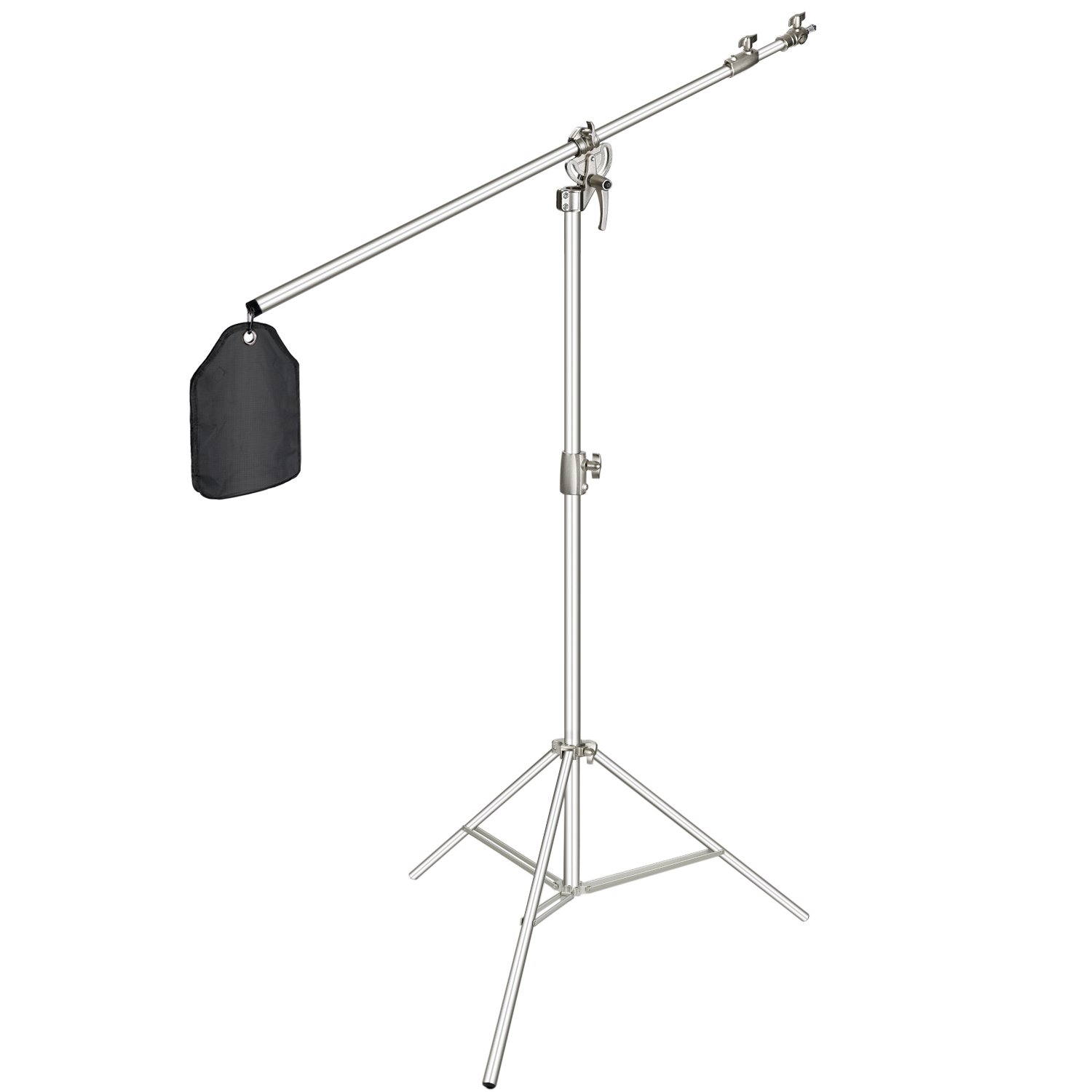 Neewer Photo Studio 2-in-1 Light Stand 48.4-151.5 inches Adjustable Height with 85-inch Boom Arm and Sandbag,Aluminum Alloy,for Supporting Umbrella Softbox Flash for Portrait Video Photography(Silver)