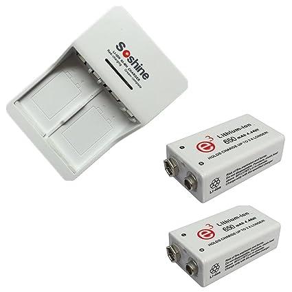 280a77961be 2 pz 9V 650mAh batteria ricaricabile agli ioni di litio con caricabatteria  universale ricaricabile per 9V