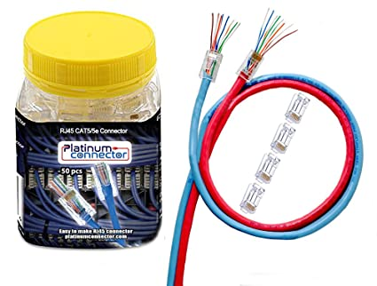 Cat5 Plug Wiring Diagram, Platinum Connector Rje 50 Pieces End Pass Through One Piece Ethernet, Cat5 Plug Wiring Diagram