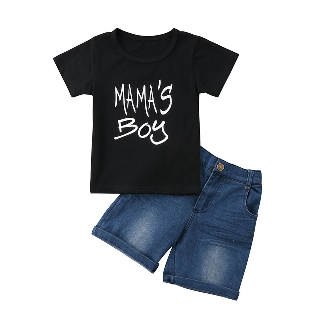 Summer Baby Boys Clothes Short Sleeve Tops+Pants Tee Denim Clothes Letter Printed Stylish Outfit Sets