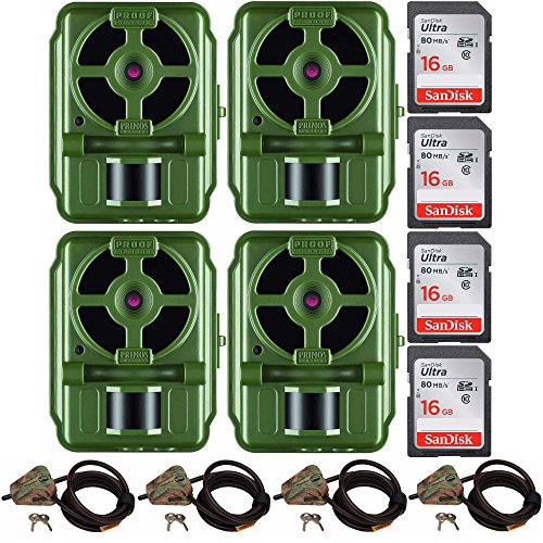 Primos 10MP Proof Cam 01 HD Trail Cam with Low-Glow LEDs, GRN - Set of 4 + Memory Cards + Cable Locks by Primos Hunting
