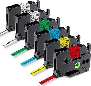 5er TZe TZ-221 421 521 621 721 p-touch 9mm Schriftband für Brother P-touch H105