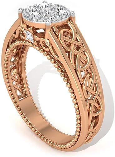 18K White Rose Gold Plated women/'s wedding dress filigree Ring