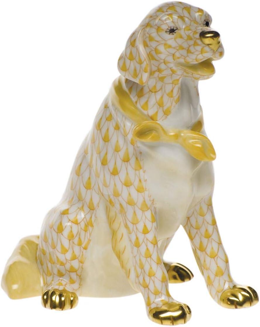 Herend Golden Retriever Porcelain Figurine Butterscotch Fishnet