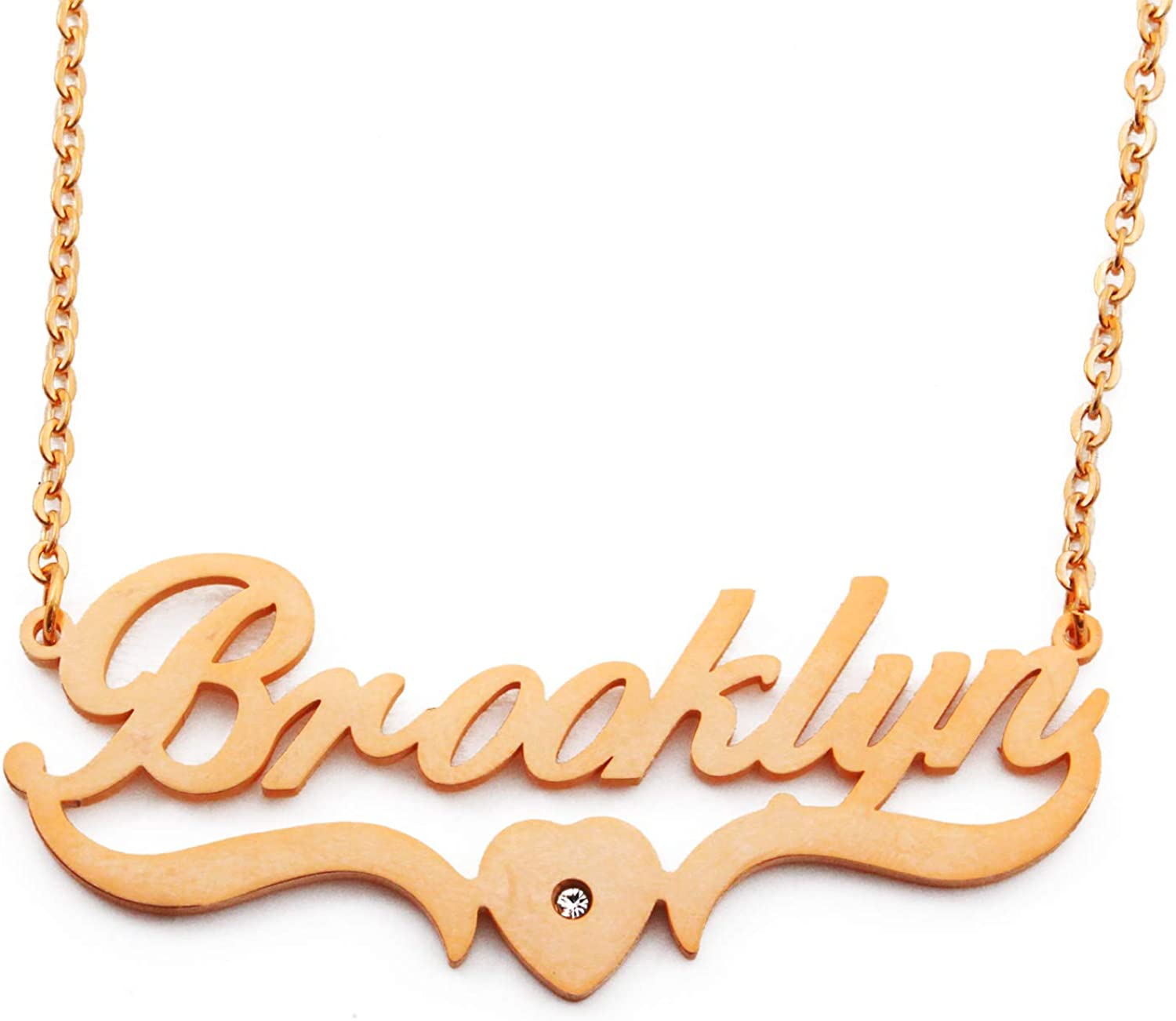 Heart Shaped 18ct Gold Plated Kigu Brooklyn Personalized Custom Name Necklace