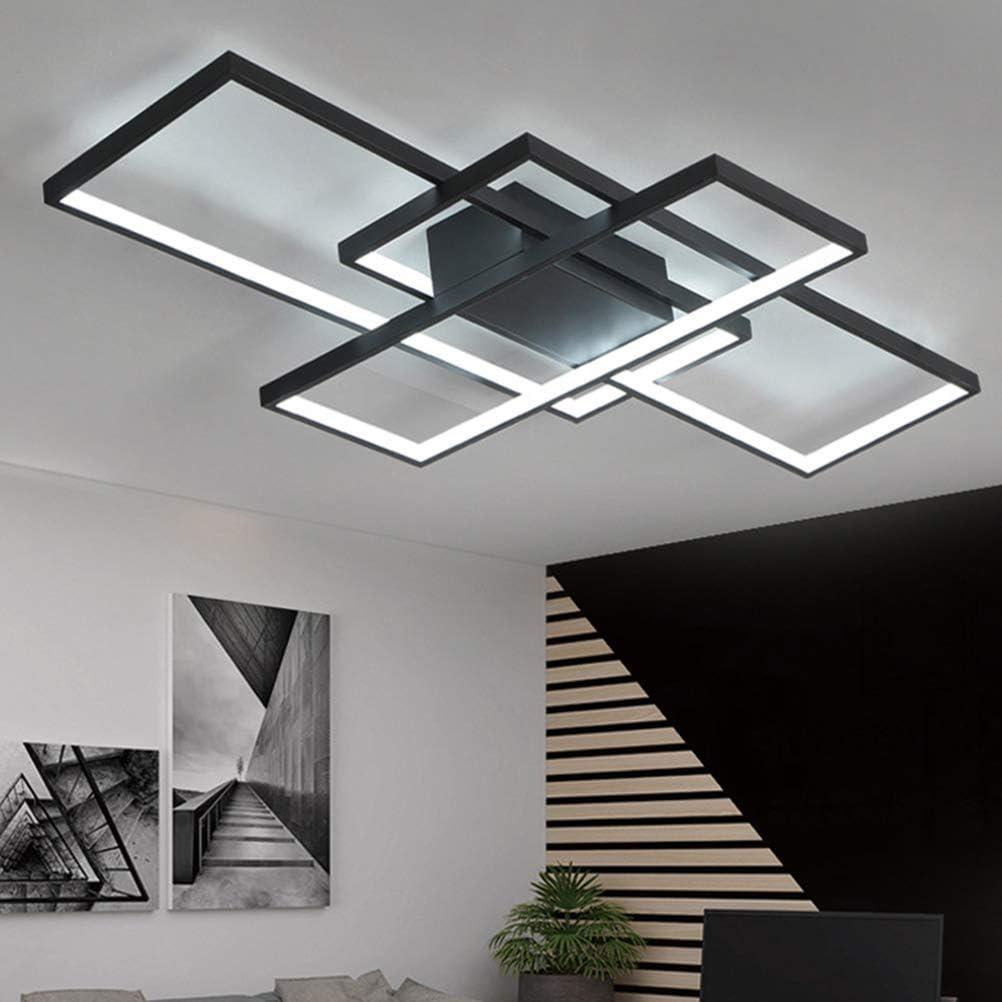 KBEST Plafonnier LED Dimmable Lampe De Salon avec T/él/écommande Moderne Acrylique Abat-Jour en Aluminium Design pour Chambre /À Coucher Manger Cuisine Bureau D/écorative,Schwarz
