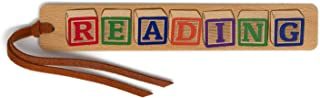 product image for Colorful Kids Building Blocks - Spells Out Reading - Engraved and Colorized Wooden Bookmark with Suede Tassel