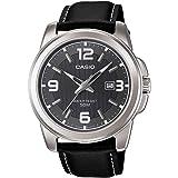 Casio Men's Black Dial Leather Band Watch - MTP-1314L-8AV