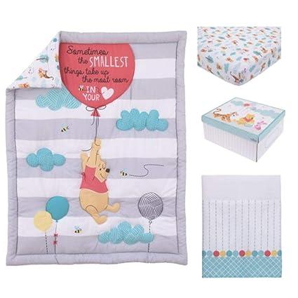 4 piezas blanco gris Aqua juego de cama de bebé Winnie the Pooh para ...