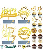 READYSETGO! Happy Birthday Cake Topper 12 Piece Acrylic Cupcake Topper Party Set, Gold Paper Fan, Heart, Star, Crown, Balloon Shape Gold Topper Birthday Cake Decorations, Birthday Decoration
