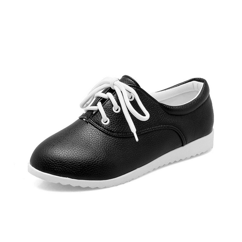 BalaMasa Womens Bandage Round Toe Solid Black Imitated Leather Flats-Shoes - 8 B(M) US
