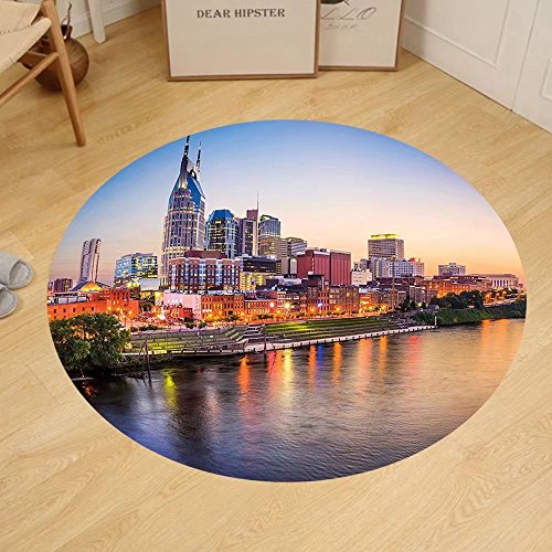 Gzhihine Custom round floor mat United States Cumberland River Nashville Tennessee Evening Architecture Travel Destination Bedroom Living Room Dorm - Outlet Nashville Stores