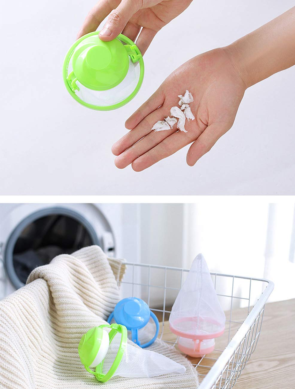 6PC Reusable Hair Remover Tool for Washing Machine Floating Pet Fur Catcher Laundry Ball Washing Machine Universal Float Filter Bag Laundry Ball Floating Pet Fur Catcher Filtering Hair Removal Device Wool Cleaning Supplies