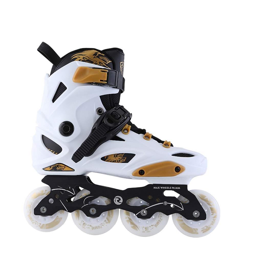 成人初心者フラッシュインラインスケート、男性と女性の通気性スケート厚い靴黒、白 (Color : 白い, Size : 39 EU/7 US/6 UK/24.5cm JP) 白い 39 EU/7 US/6 UK/24.5cm JP