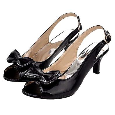 Women/'s Kitten Heel Shoes Peep Toe Patent BowKnot Slingbacks Sandals All US Size