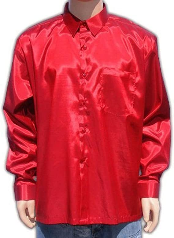 Camisa roja para Hombre, Manga Larga, de satén, Manga Larga: Amazon.es: Deportes y aire libre