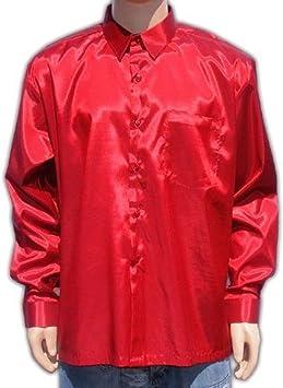 Camisa roja para Hombre, Manga Larga, de satén, Manga Larga ...