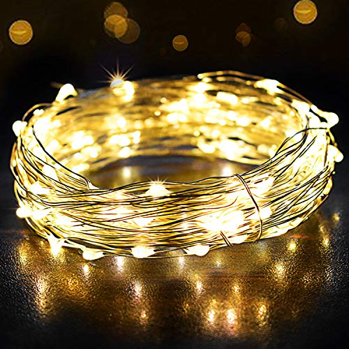 Guirnalda Luces 12M 120 LED, OMERIL Cadena de Luces Impermeable IP65, Luces Navidad USB y Luces de Hadas para Decorativas, Navidad, Habitacion, Fiesta, Jardín, Bodas, Césped – Alambre de Plata