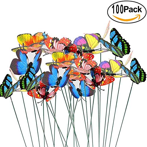 Antallcky 100pcs Butterfly Stakes Outdoor Yard Planter Flower Pot Bed Garden Decor Butterflies Christmas Decorations, Artificial Butterflies on Metal Wire Plant Stake Stems-Multicolor Butterfly Metal Garden