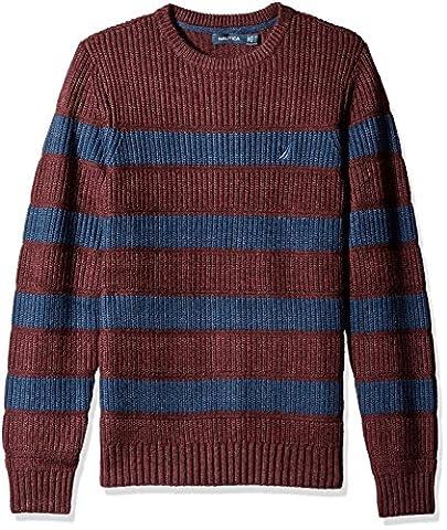 Nautica Men's Breton Long Sleeve Stripe Sweater, Shipwreck Burgundy Heather, L - Breton Stripe