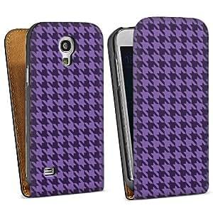 Diseño para Samsung Galaxy S4 Mini I9195 DesignTasche Downflip black - Hahnentritt lila
