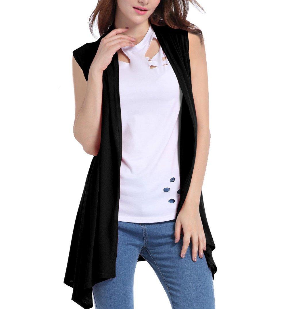 Henwei Women's Sleeveless Shawl Open Front Drape Cardigan Vest Black XL