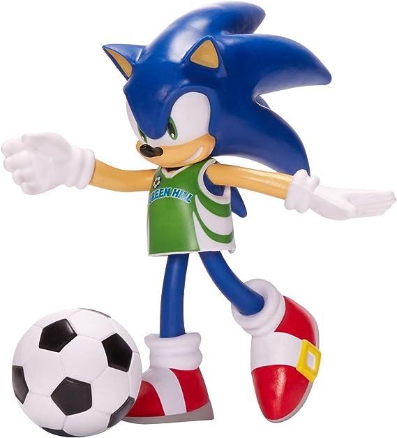 """4/"""" curvabile Action Figure Sonic The Hedgehog giocattolo SONIC CON PALLONE DA CALCIO"""