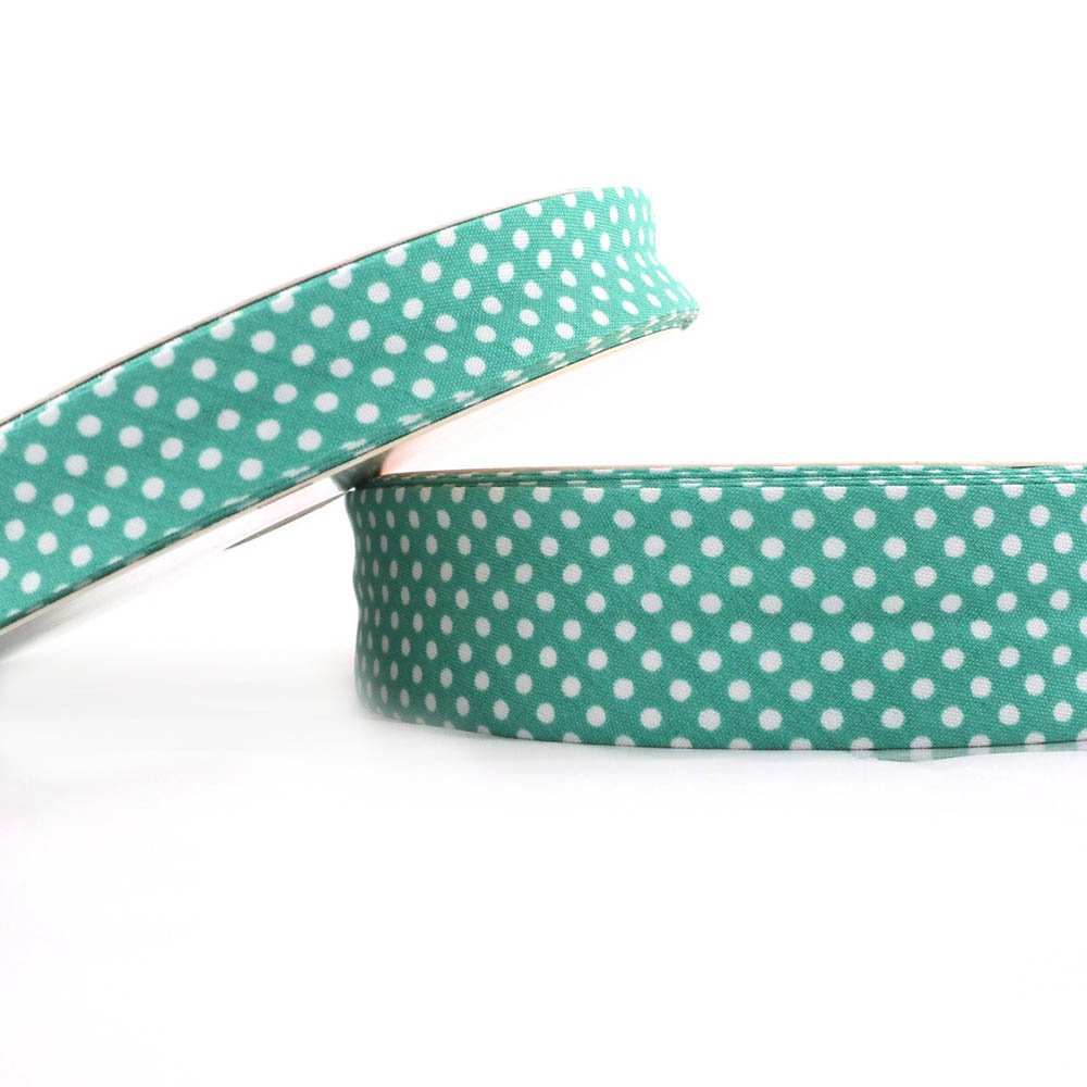 Higgs & Higgs - Dot Bias Binding - 30mm - Jade - Cotton Fabric Folded