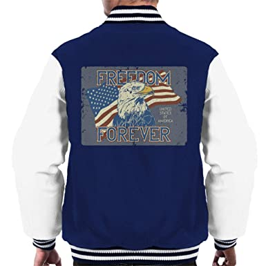 USA Freedom Forever Bald Eagle Mens Varsity Jacket: Amazon.es ...