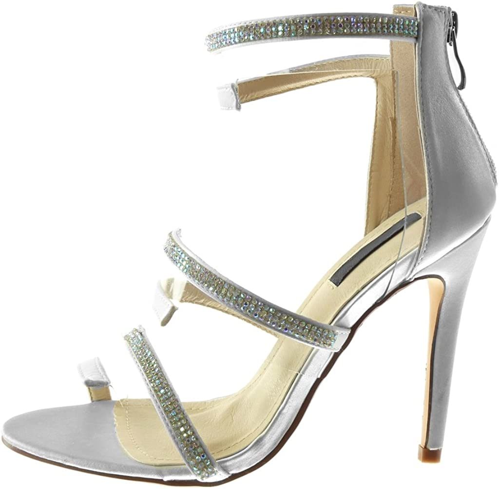 Angkorly Chaussure Mode Escarpin Sandale Stiletto Montante lanière Cheville Femme Strass Diamant Multi Bride Transparent Talon Haut Aiguille 11 CM