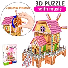 GBD 3D Jigsaw Puzzles for Kids Easter Gifts Magic Windmill Music Box Dollhouse Castle Brain Model DIY Building Sets Educational Toys Creative Learning Games Girls Boys Birthday -23 Pieces