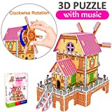 GBD 3D Jigsaw Puzzles for Kids Summer Gifts Magic Windmill Music Box Dollhouse Castle Brain Model DIY Building Sets Educational Toys Creative Learning Games for Girls Boys Birthday-23 Pieces