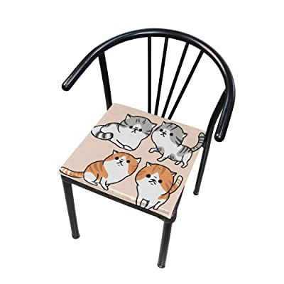 Bardic FICOO Home Patio Chair Cushion Funny Animal Kitten Square Cushion Non-Slip Memory Foam Outdoor Seat Cushion, 16x16 Inch: Home & Kitchen