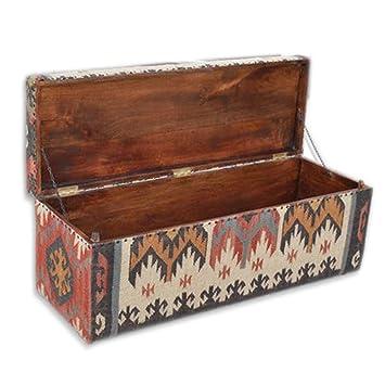 Homescapes Tissu Ottoman Boite Table Basse Pieds Tapis Kilim