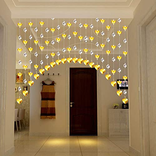 Beaded Curtain, Heart-Shaped Crystal Glass Bead Chain, Arc-Shaped Living Room Aisle Partition,No Need to Punch, 8 Colors