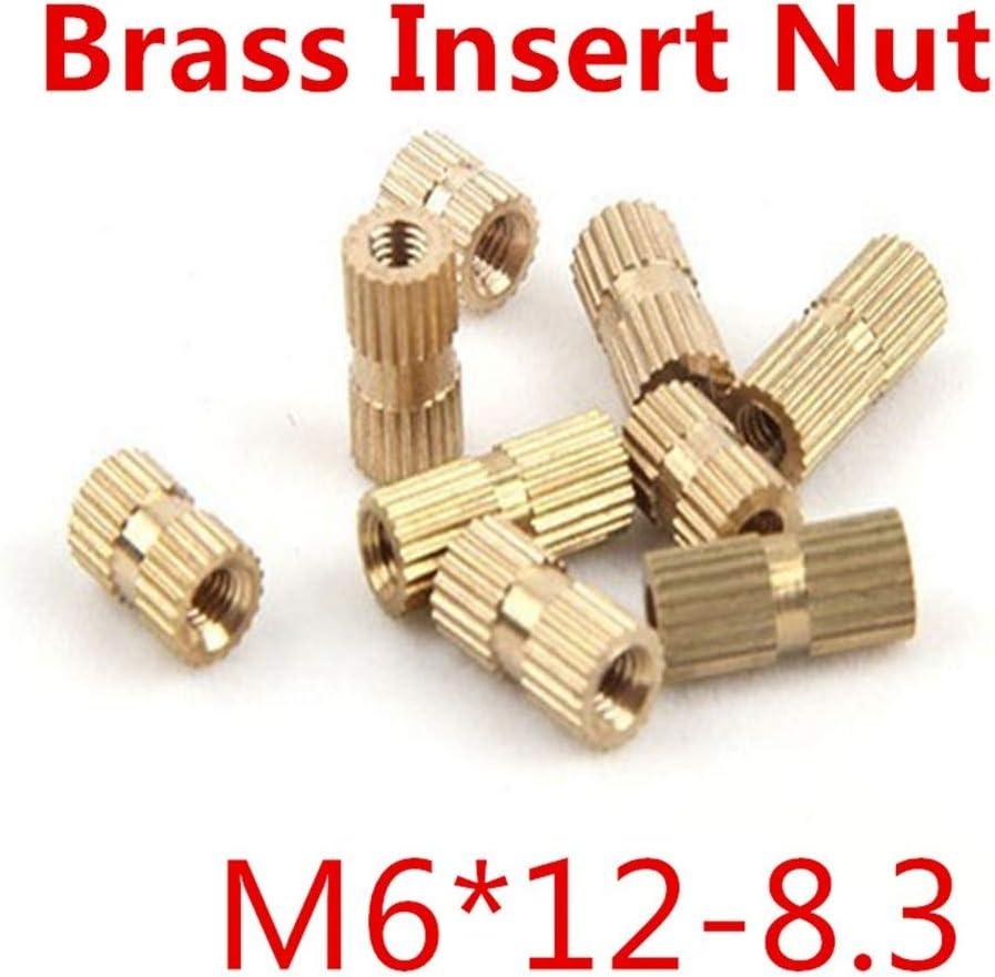 Single Thread Brass Knurl Nut OD 8.3mm Nuts 唐铭鲆544162 100pcs//lot M612 M6 x 12 Blind End Brass Insert Nut Bolt