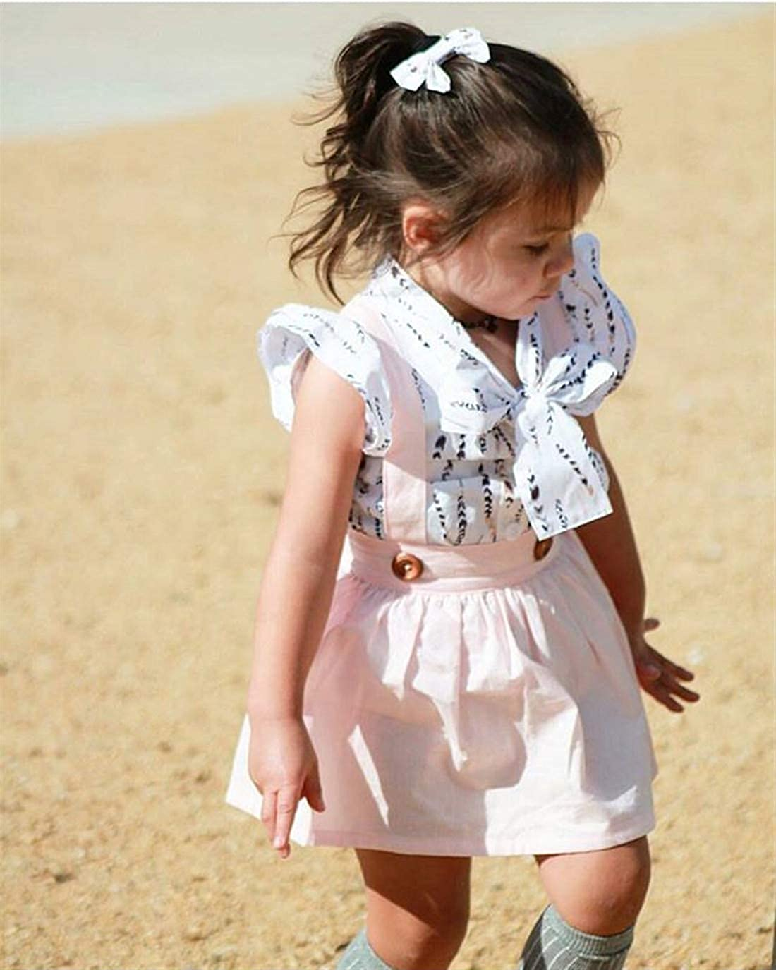Toddler Kids Baby Girls Feather Ruffled Bowknot Blouse Shirt Top Suspender Overall Skirts 2PCS Outfit Set