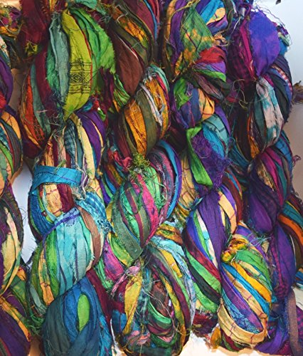 Sari Yarn Silk Recycled (Sari Pure Silk 100g Ribbon Yarn recycled Sari Silk Ribbon Yarn Multi purple tie dye)