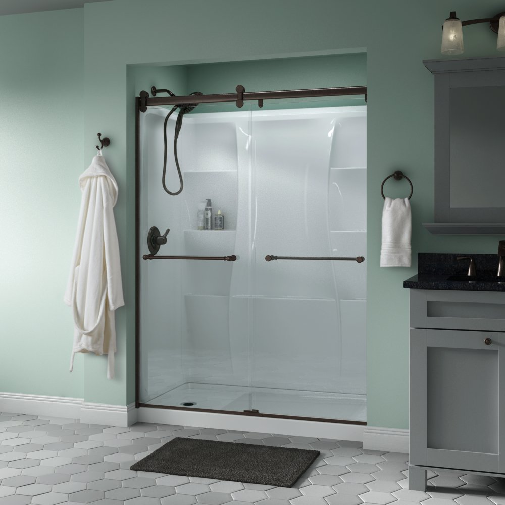Delta Shower Doors SD3172662 Windemere 60'' x 71'' Semi-Frameless Contemporary Sliding Shower Door in Bronze with Clear Glass by DELTA FAUCET