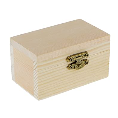 Homyl 2pcs Unfinished Wooden Boxes Small Plain Wood Storage Box Case For  Jewellery