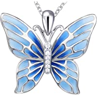 APOTIE Sterling 925 Silver Enamel Red Or Blue Charm Long Butterfly Pendant Necklace Gift White Gold Jewelry for Women